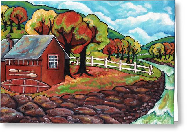 Revising Paintings Greeting Cards - Ridge Rock Valley Revised with no lettering Greeting Card by MarLa Hoover