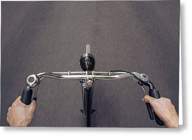 Handbrake Greeting Cards - Riding A Bicycle  Greeting Card by Julien Balmer