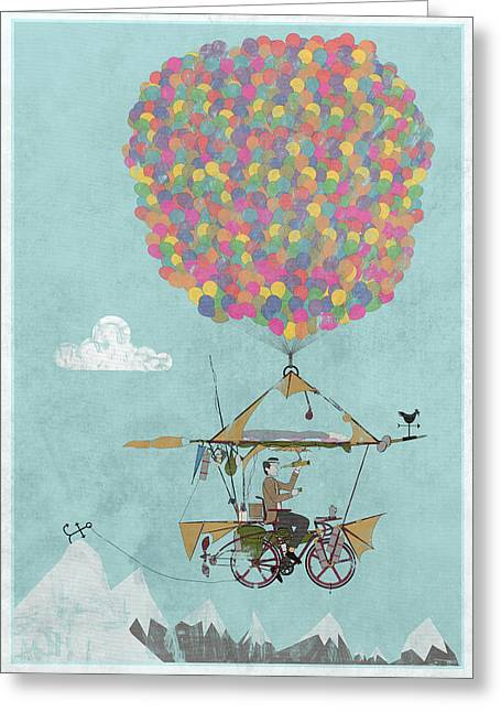 Messenger Greeting Cards - Riding A Bicycle Through The Mountains Greeting Card by Andy Scullion