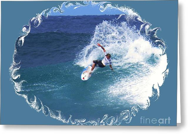 Surfing Photos Greeting Cards - Riding a Wave Greeting Card by Scott Cameron
