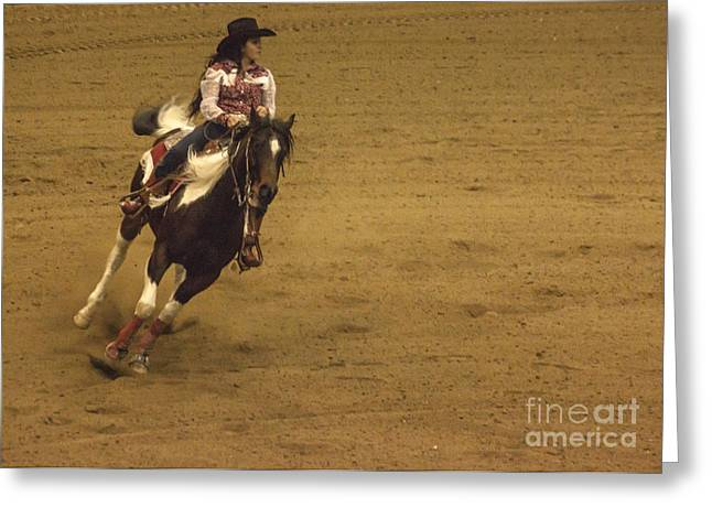 Wild Racers Greeting Cards - Riding Around The Barrel Greeting Card by Janice Rae Pariza