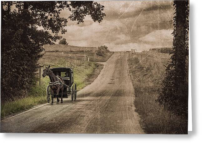 Riding Down A Country Road Greeting Card by Tom Mc Nemar