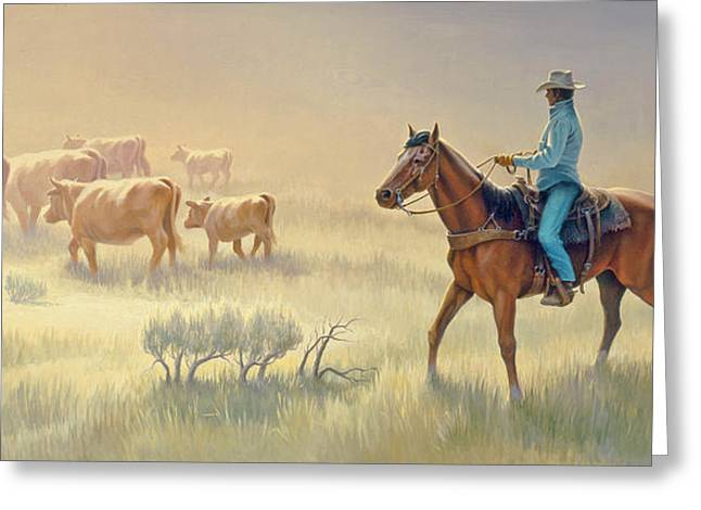 Cowboys Greeting Cards - Riding Drag Greeting Card by Paul Krapf