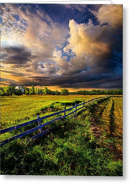 Fence Photographs Greeting Cards - Riding Fences Greeting Card by Phil Koch