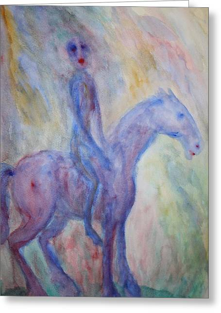 Sweating Greeting Cards - Riding Ghost  Greeting Card by Hilde Widerberg