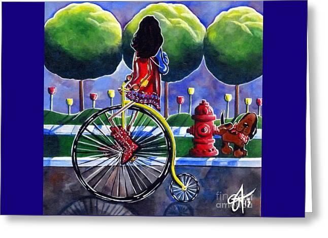 Riding Grandmas Bike Greeting Card by Jackie Carpenter