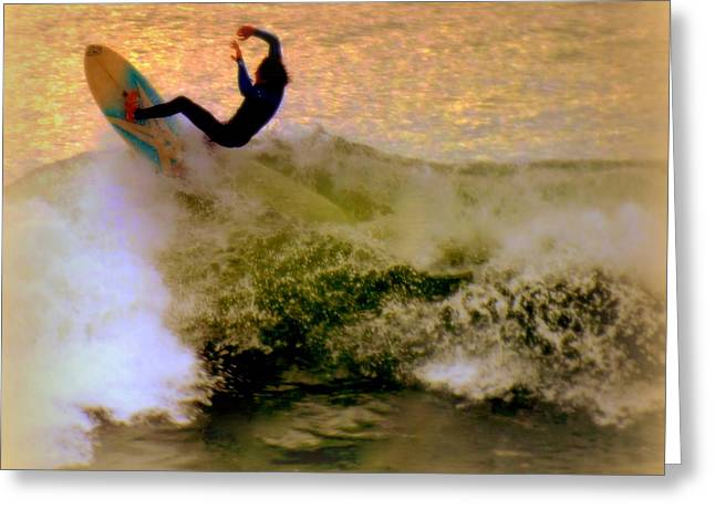 Wrightsville Beach Greeting Cards - Riding High Greeting Card by Karen Wiles