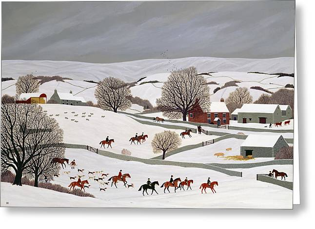 Dog In Snow Greeting Cards - Riding in the Snow Greeting Card by Vincent Haddelsey