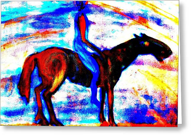 Smooth Ride Greeting Cards - Riding off in the morning Greeting Card by Hilde Widerberg