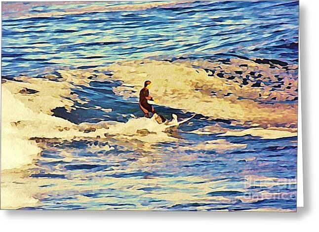 John Malone Work Digital Greeting Cards - Riding Out the Wave Greeting Card by John Malone