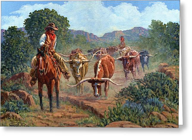 Steer Greeting Cards - Riding Point Greeting Card by Randy Follis