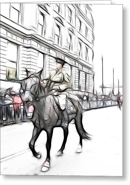 Horse And Riders Greeting Cards - Riding Proud Greeting Card by Sharon Lisa Clarke