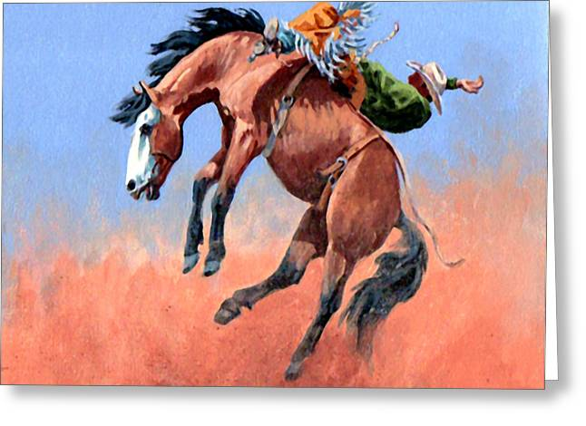 Bucking Horses Greeting Cards - Riding Rocket Greeting Card by Randy Follis