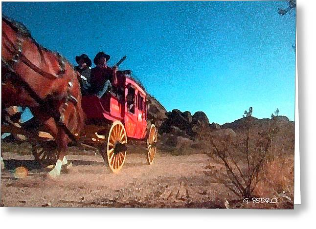 Old Western Photos Digital Art Greeting Cards - Riding Shotgun on the Afternoon Stage Greeting Card by George Pedro