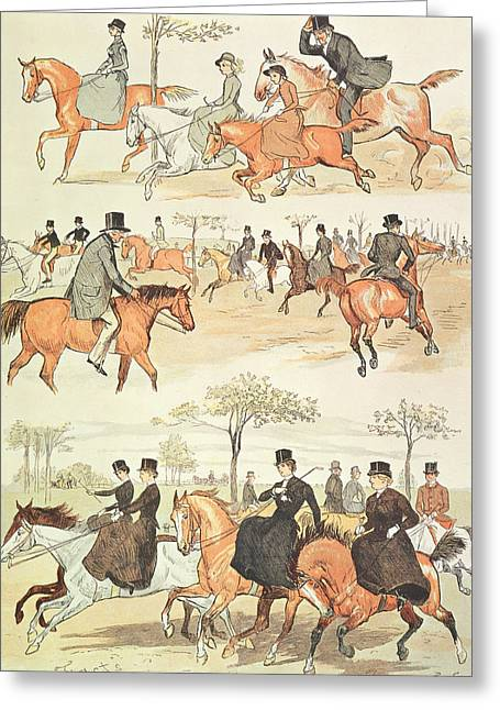 Crt Greeting Cards - Riding Side-saddle Greeting Card by Randolph Caldecott