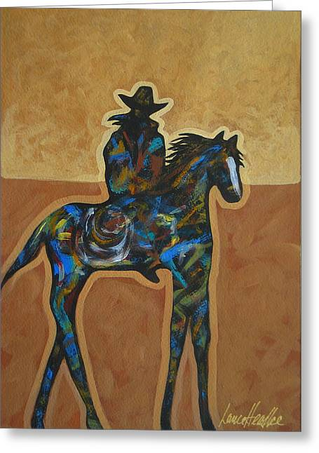 Arizona Cowboy Greeting Cards - Riding Solo Greeting Card by Lance Headlee