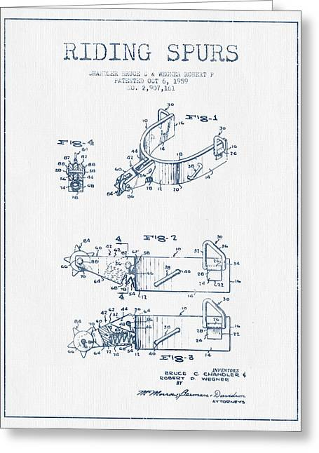 Horse Riding Greeting Cards - Riding Spurs Patent Drawing from 1959 - Blue Ink Greeting Card by Aged Pixel