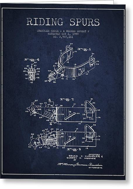 Spur Greeting Cards - Riding Spurs Patent Drawing from 1959 - Navy Blue Greeting Card by Aged Pixel
