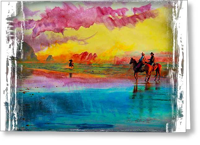 Sunset Greeting Cards Greeting Cards - Riding the Beach at Sunset I Greeting Card by Ken Evans