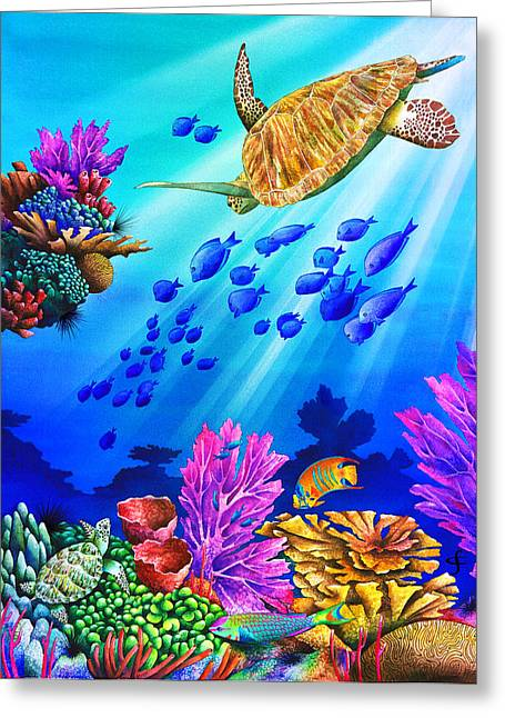 Sea Animals Greeting Cards - Riding The Beam Greeting Card by Carolyn Steele