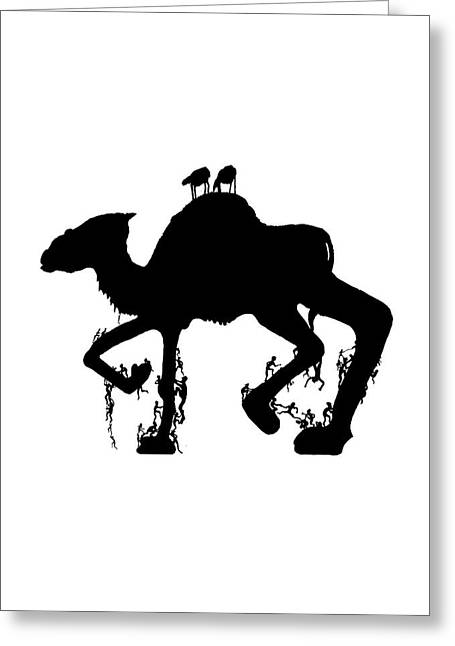 Politics Prints Digital Art Greeting Cards - Riding the Camel Greeting Card by Munir Alawi