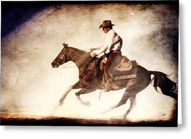 Old Western Photos Greeting Cards - Riding the Light Greeting Card by Lincoln Rogers