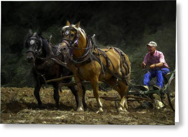 Farmers Field Greeting Cards - Riding the Plow - Painting Greeting Card by F Leblanc