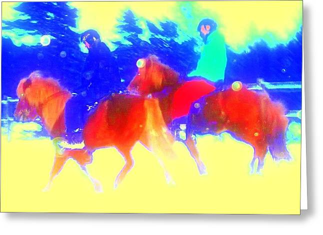 Mental Process Greeting Cards - Riding The Ponies Greeting Card by Hilde Widerberg