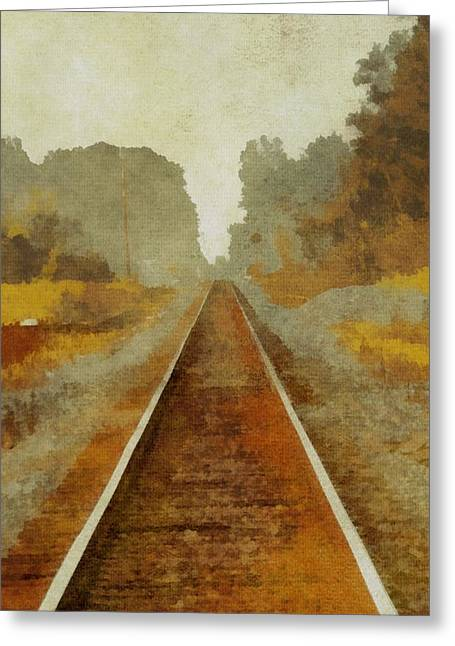 Escape Mixed Media Greeting Cards - Riding The Rails Greeting Card by Dan Sproul