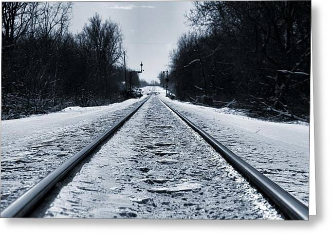 Train Crossing Greeting Cards - Riding The Rails In Winter Greeting Card by Dan Sproul