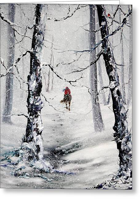 Sledge Training Greeting Cards - Riding the storm Greeting Card by Jean Walker