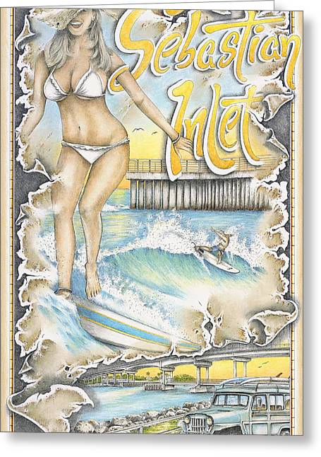 Bikinis Pastels Greeting Cards - Riding the Wave Greeting Card by Mike Williams