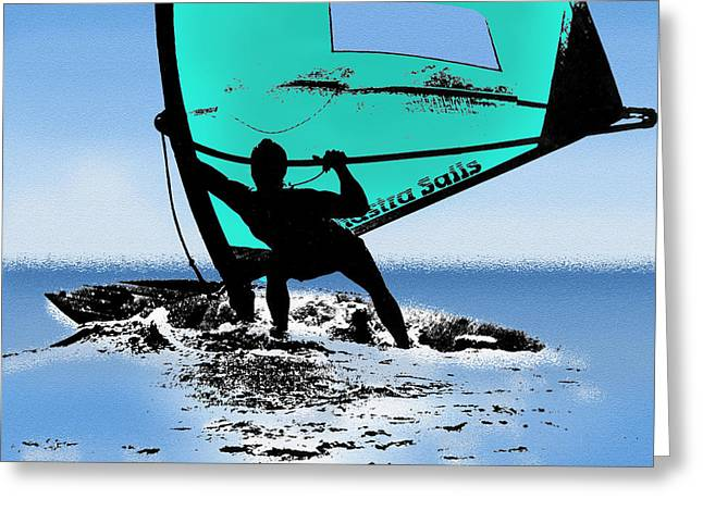 Sailboarding Greeting Cards - Riding the Wind Greeting Card by Mike Flynn