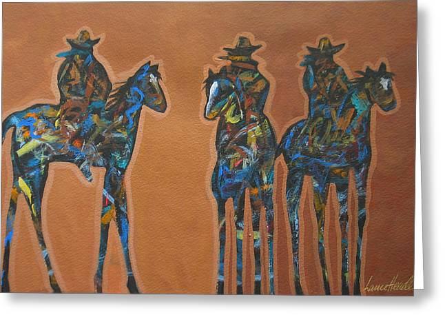 Cave Creek Cowboy Greeting Cards - Riding Three Greeting Card by Lance Headlee
