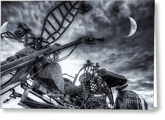 Praia De Faro Greeting Cards - Riding Tonight BW Greeting Card by English Landscapes