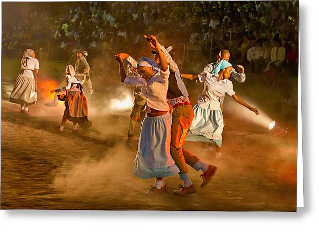 Traditional Dance Greeting Cards - Riel Dance 01 Greeting Card by Basie Van Zyl