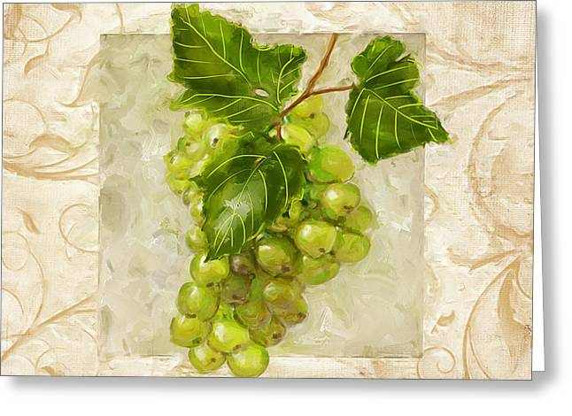 Purple Grapes Paintings Greeting Cards - Riesling II Greeting Card by Lourry Legarde