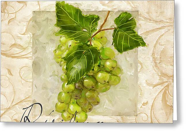 Purple Grapes Paintings Greeting Cards - Riesling Greeting Card by Lourry Legarde