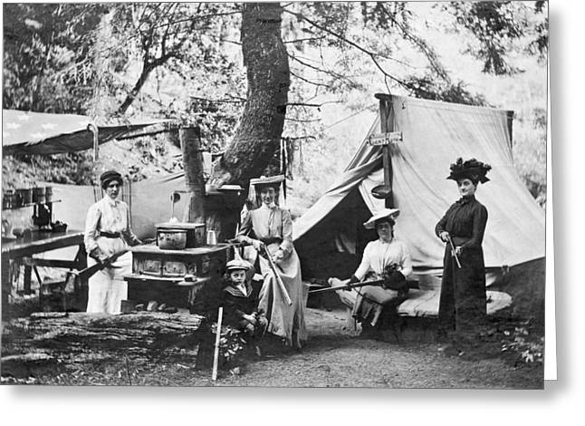 Maxi-dress Greeting Cards - Rifle Women In Camp Greeting Card by Underwood Archives