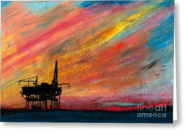 Sea Platform Paintings Greeting Cards - Rig at Sunset Greeting Card by R Kyllo