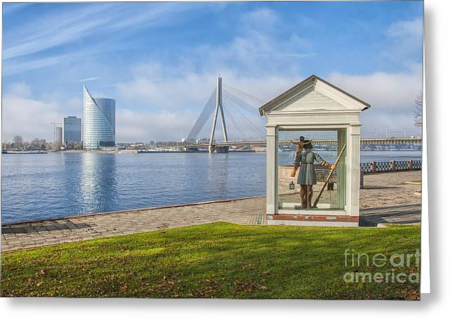 Saint Christopher Photographs Greeting Cards - Riga Big Christopher Greeting Card by Antony McAulay