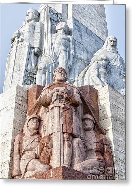Star Alliance Greeting Cards - Riga Freedom Monument 02 Greeting Card by Antony McAulay