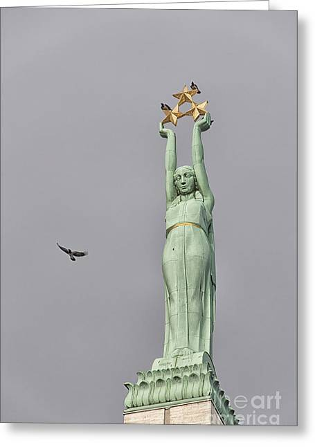 Star Alliance Greeting Cards - Riga Freedom Monument 03 Greeting Card by Antony McAulay