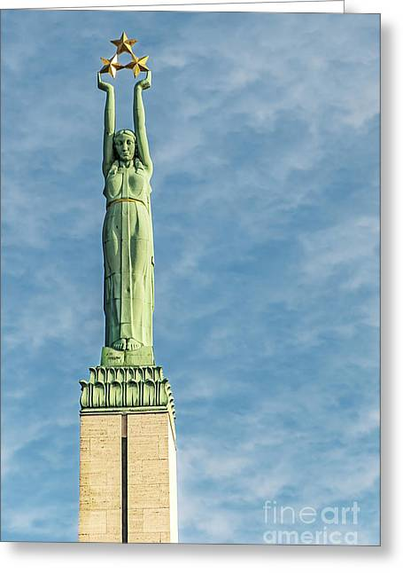 Star Alliance Greeting Cards - Riga Freedom Monument Greeting Card by Antony McAulay