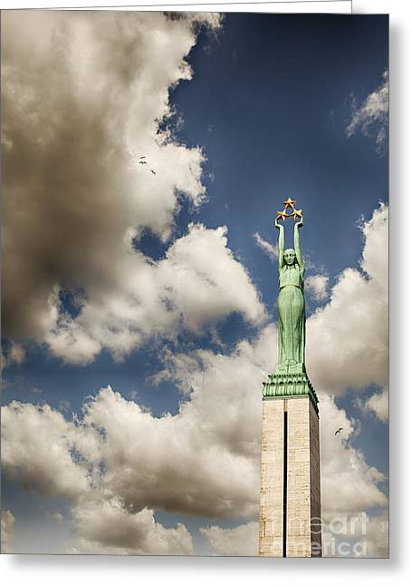 Star Alliance Photographs Greeting Cards - Riga freedom monument Greeting Card by Sophie McAulay