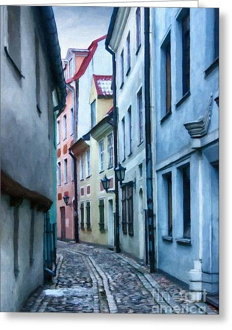 Oil Lamp Greeting Cards - Riga Narrow Street Painting Greeting Card by Antony McAulay