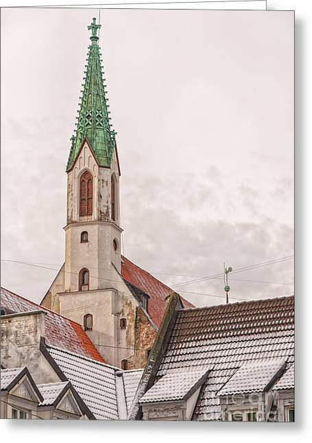 Medieval Temple Greeting Cards - Riga St Johns Church Greeting Card by Antony McAulay