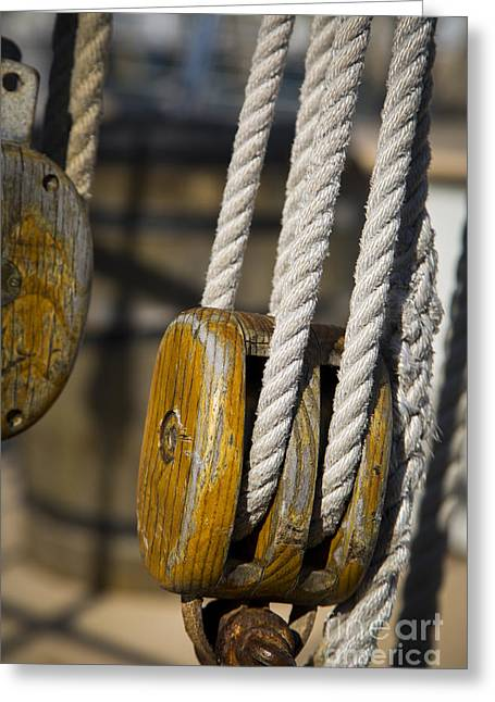 Wooden Ship Greeting Cards - Rigging Block Greeting Card by Brian Jannsen