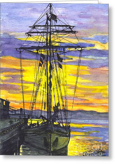 Schooner Mixed Media Greeting Cards - Rigging in the Sunset Greeting Card by Carol Wisniewski
