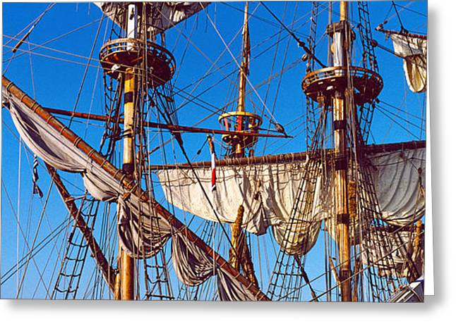 Tall Ships Greeting Cards - Rigging Of A Tall Ship, Finistere Greeting Card by Panoramic Images